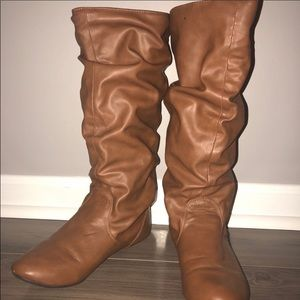 Tall tan slouch boots